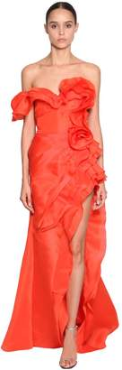 Ermanno Scervino Long Asymmetrical Ruffled Dress