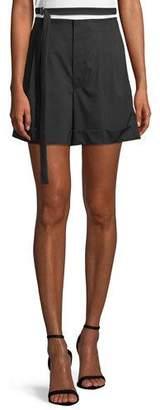 Helmut Lang High-Waist Belted Wool Shorts