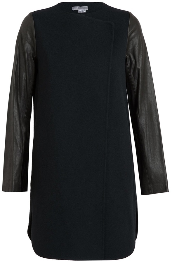 Vince Boiled Wool and Leather Coat