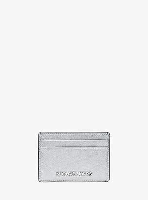 MICHAEL Michael Kors Travel Metallic Saffiano Leather Card Case