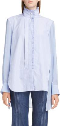 Chloé Ruffle Trim High/Low Poplin Shirt
