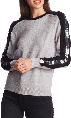 1 STATE 1.STATE Sequin Sleeve Stripe Cotton Blend Crewneck Sweater