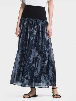 DKNY Printed Chiffon Pull-On Maxi Skirt