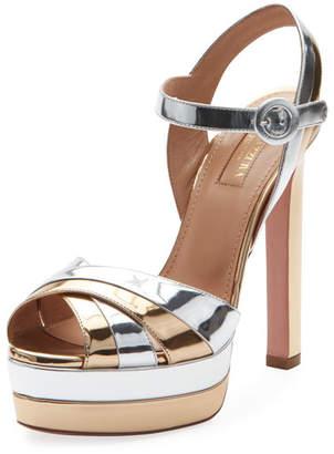 Aquazzura Coquette Metallic Leather Platform Sandal