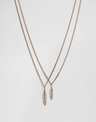 Mister Feather Necklace In Rose Gold