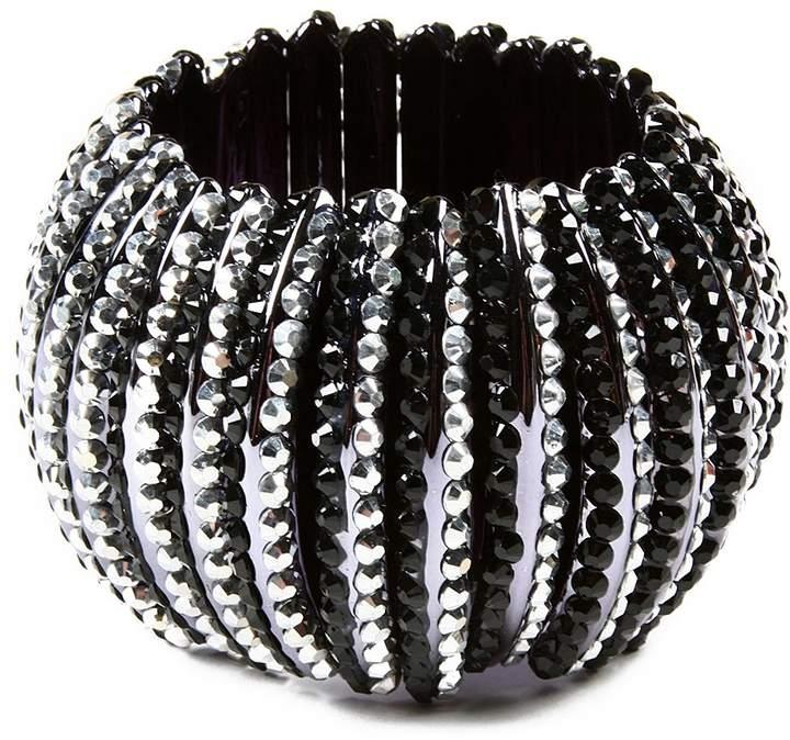 Silvertone & Black Broadway Stretch Bracelet