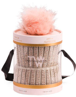 Knitted Hat With Rhinestones & Faux Fur Pom