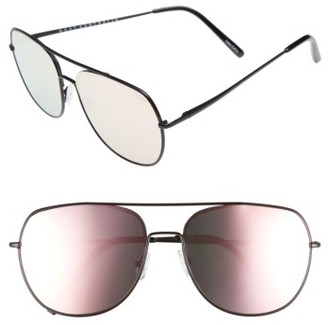 Women's Quay Australia Living Large 60Mm Mirrored Aviator Sunglasses - Black/ Pink $60 thestylecure.com