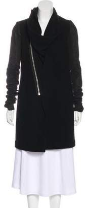 Rick Owens Wool Leather-Accented Coat w/ Tags