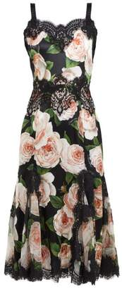Dolce & Gabbana Rose Print Silk Blend Satin Dress - Womens - Black Pink