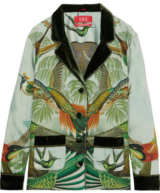 F.R.S For Restless Sleepers - Ade Velvet-trimmed Printed Silk-twill Pajama Shirt - Green
