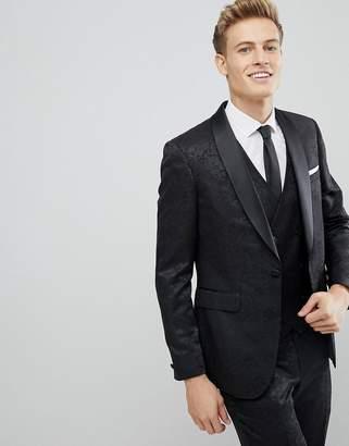 Burton Menswear Skinny Suit Jacket In Floral Glitter