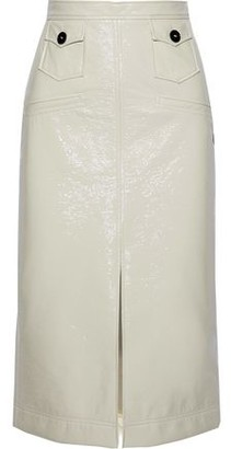 ALEXACHUNG Crinkled Faux Patent Leather Midi Skirt
