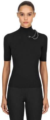 Moschino Turtleneck Top W/ Chain Detail