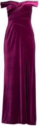 Aidan Mattox Off-The-Shoulder Velvet Gown