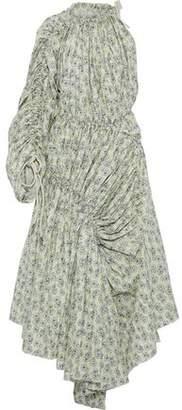 Marni One-shoulder Ruched Floral-print Cotton-poplin Maxi Dress