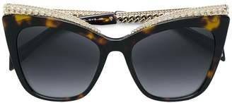 Moschino tortoiseshell curb chain trim sunglasses
