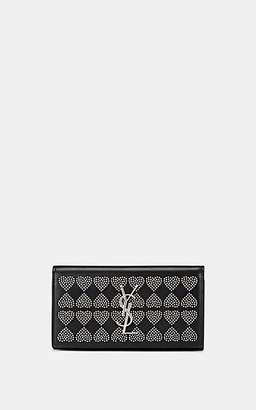 Saint Laurent Women's Monogram Studded Leather Wallet - Black
