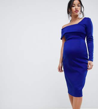 Asos One Sleeve Fold Front Midi Bodycon Dress