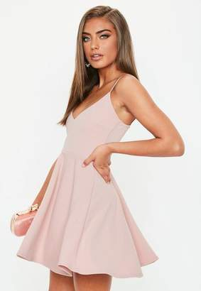 Missguided Petite Pink Strappy Scuba Skater Dress