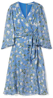 Alice + Olivia Halsey Belted Floral-print Devoré-chiffon Dress - Sky blue
