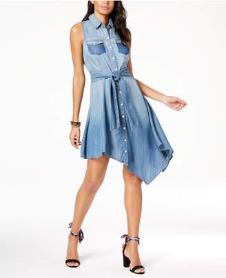 INC International Concepts I.n.c. Asymmetrical Denim Shirtdress, Created for Macy's