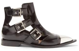 Alexander McQueen Cut Out Leather Ankle Boots - Womens - Black