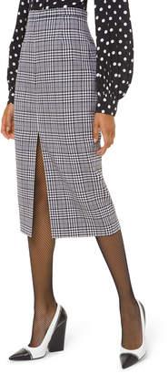 Michael Kors Plaid Wool Slit-Hem Pencil Skirt