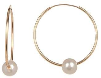 Splendid Pearls 14K Yellow Gold White 6mm Freshwater Pearl Hoop Earrings
