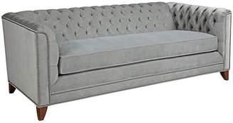 """Kristin Drohan Collection Chip 80"""" Chesterfield Sofa - Light Gray Velvet"""