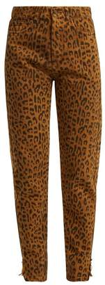 Saint Laurent Leopard Print Skinny Denim Jeans - Womens - Leopard