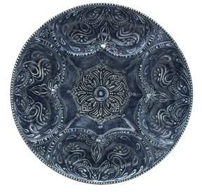 Pfaltzgraff 14 Inch Blue Embossed Stoneware Chip and Dip Plate