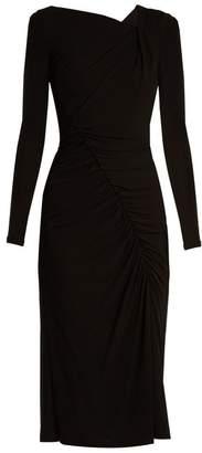 Altuzarra Anjela Asymmetric Ruched Jersey Midi Dress - Womens - Black