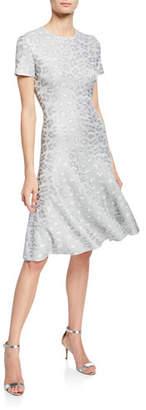 St. John Sequin Animal Jacquard Fit-&-Flare Dress