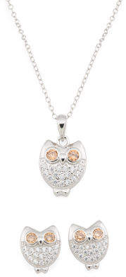 Girls Sterling Silver Cz Owl Necklace And Earrings Set