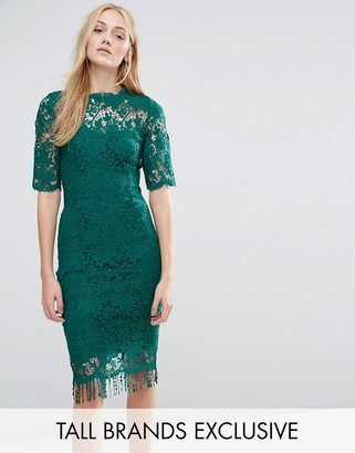 Paper Dolls Tall All Over Lace Dress With Contrast Lining And Tassel Hem $103 thestylecure.com