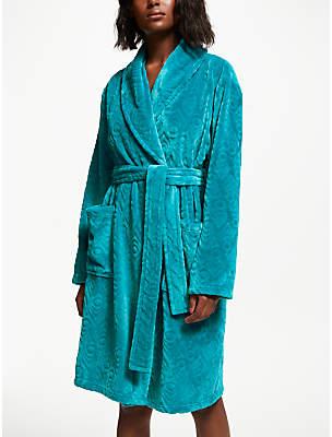John Lewis & Partners Talitha Peacock Embossed Fleece Dressing Gown, Blue