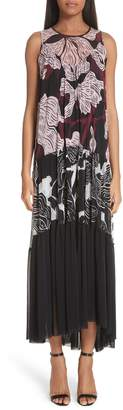 Fuzzi Mixed Deco Flower Print Tulle Maxi Dress