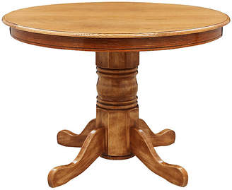 One Kings Lane Vintage Round Oak Pedestal Table - Mission Avenue Studio