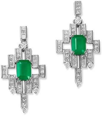 Bloomingdale's Emerald & Diamond Deco Drop Earrings in 14K White Gold - 100% Exclusive