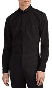 Neil Barrett Men's Fringe-Trimmed Cotton Poplin Shirt - Black