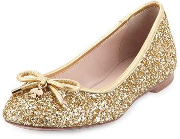 Kate Spade New York Willa Glitter Ballerina Flat, Gold