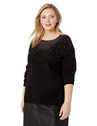 Calvin Klein Women's Plus Size Crewneck Sweater with Diamond Detail