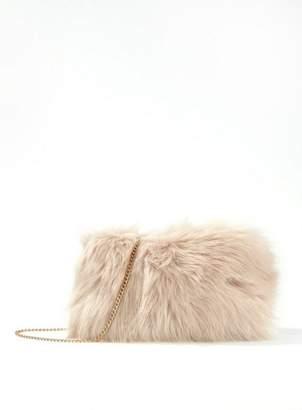 Miss Selfridge Nude faux fur cross body bag