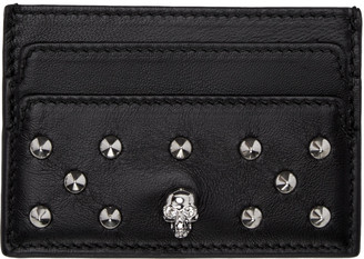 Alexander McQueen Black Skull Studded Card Holder $215 thestylecure.com