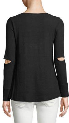 Neiman Marcus Long-Sleeve Elbow-Cutout Tee
