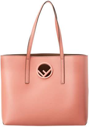 Fendi Logo Leather Shopper Tote