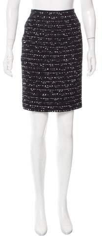 Michael Kors Mesh-Accented Wool Skirt