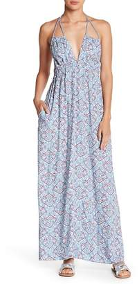 Love Stitch V-Neck Printed Maxi Dress