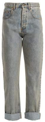 Gucci - Tiger Head Embroidered Straight Leg Jeans - Womens - Light Blue